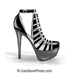 Woman shoes with high heels. Fashion illustration