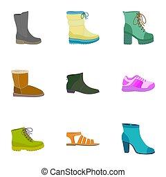 Woman shop shoes icon set, flat style