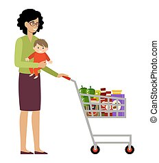 Woman shopper with shopping basket and baby