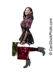 Woman Shopping - A young beautiful black African American...