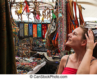 Woman shopping at market - Woman shopping at greenmarket...