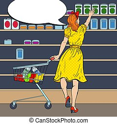 Woman Shopping at the Supermarket with Cart Choosing Product. Pop Art vector illustration
