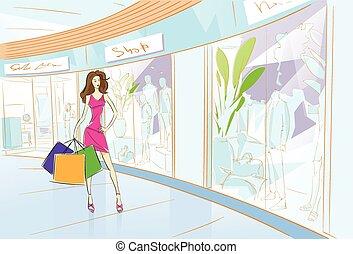 Woman Shopping Bags Modern Luxury Shop Mall