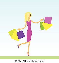 woman shopping bags walking blue background vector illustration