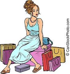 Woman shopping. Beautiful young buyer. Pop art retro vector illustration drawing