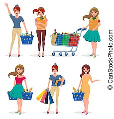 Woman shopping character set. Female shopper vector cartoon characters