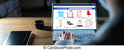 Woman Shopping Cloth Online On Laptop Late