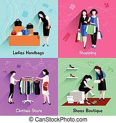 Woman Shopping Flat Set