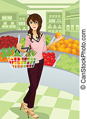 "A vector illustration of a beautiful woman shopping grocery at the supermarket. Part of ""A Day In Life"" series (see others in my portfolio)"