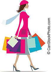 Woman shopping - Illustration of a fashionable woman with...