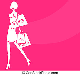 Woman Shopping - Illustration of a young woman with shopping...