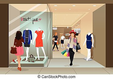 Woman shopping in a mall - A vector illustration of stylish...