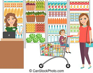Woman shopping in grocery store. Customer market, sale...