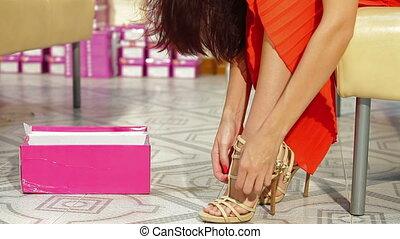 Woman Shopping in Shoe Store
