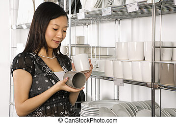 Woman shopping in store.