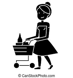 woman shopping in supermarket with cart icon, vector illustration, black sign on isolated background