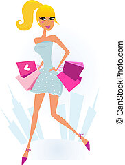 Woman Shopping in the City - Attractive blond girl with pink...