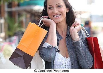 Woman shopping in town