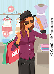 Woman shopping inside the clothing store - A vector...