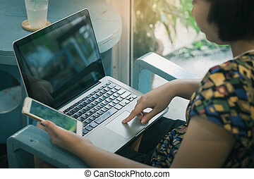 Woman shopping online at home
