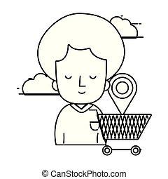 woman shopping online cartoon