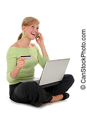 shopping online - Woman shopping online