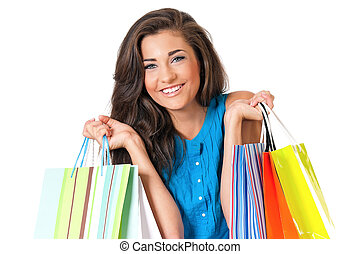 Woman shopping - Portrait of young happy smiling girl n with...