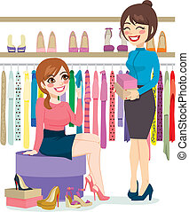 Woman Shopping Shoes - Beautiful young woman trying and...