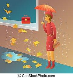 Woman shopping vector illustration. Girl under umbrella want to buy a bag