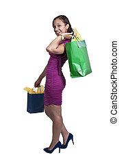 Woman Shopping - Young beautiful black African American...