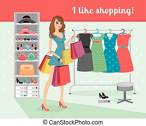 Woman shopping - Young beautiful woman with packages in hand...