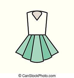 woman short dress, filled color outline editable stroke