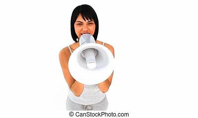 Woman shouting a loudspeaker - Casual asian woman shouting...
