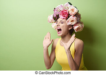 Woman shouting and yelling in the studio