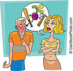 Woman shouting at man - Illustration of angry woman abuses...