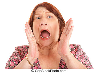 Woman Shouting for Help - A woman is shouting for help