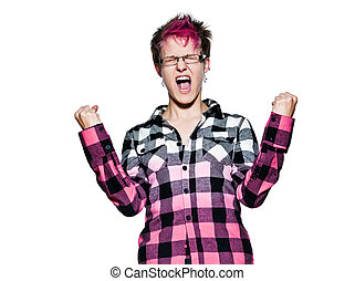 Woman shouting happily - Portrait of an excited young woman...