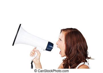 Woman shouting into a loud haler - Profile view of an...