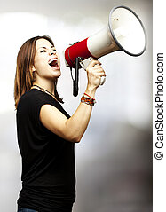 woman shouting megaphone