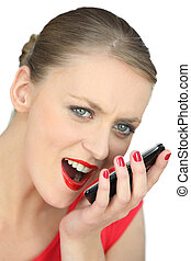 woman shouting on the phone