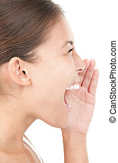 Woman shouting / screaming isolated portrait in profile....
