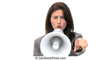 Woman shouting through megaphone isolated on a white...