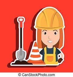 woman shovel warning construction