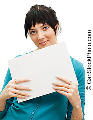 Woman showing a blank sheet of paper