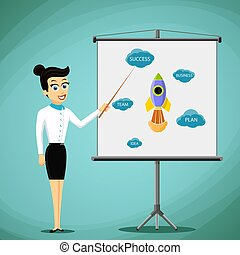 Woman showing a business presentation on the board. Stock vector