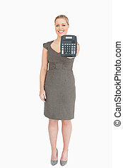 Woman showing a calculator