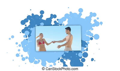 Woman showing a couple dancing against a spotted background