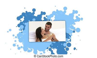 Woman showing a couple having a toa