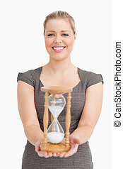 Woman showing a hourglass