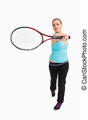 Woman showing a racquet